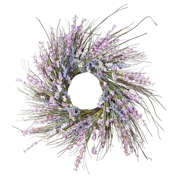 """Enova Home 24"""" Mixed Spring Artificial Flower Wreath. Opens flyout."""