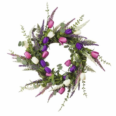 "Enova Home 18"" Mixed Tulip Artificial Flower Wreath"