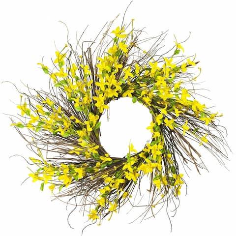 "Enova Home 24"" Artificial Forsithya Flower Wreath"