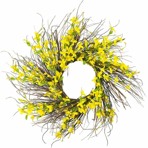 "Enova Home 24"" Artificial Forsithya Flower Wreath. Opens flyout."