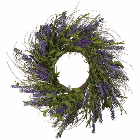 "Enova Home 24"" Lavender Mixed Artificial Flower Wreath"