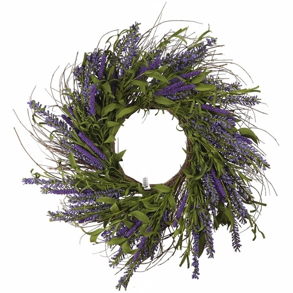 """Enova Home 24"""" Lavender Mixed Artificial Flower Wreath. Opens flyout."""