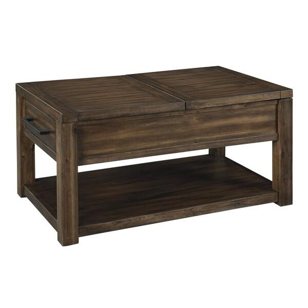 Transitional 2-Drawers Cocktail Coffee Table w// Shelf Storage Rectangular Brown