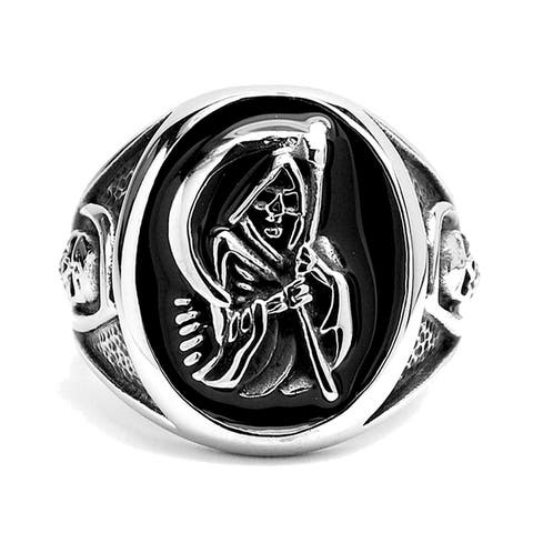 Mens Stainless Steel Casted Grim Reaper Ring Enamel
