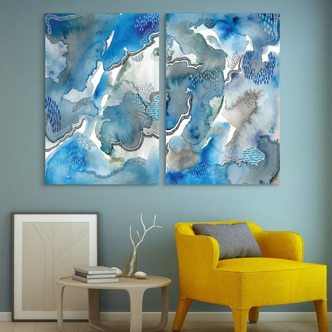 Subtle Blues Abstract Printed Wall Art on Unframed Free Floating Tempered Glass