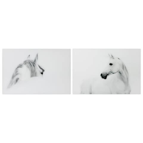 White Horse Wall Art Frameless Free Floating Tempered Glass Panel