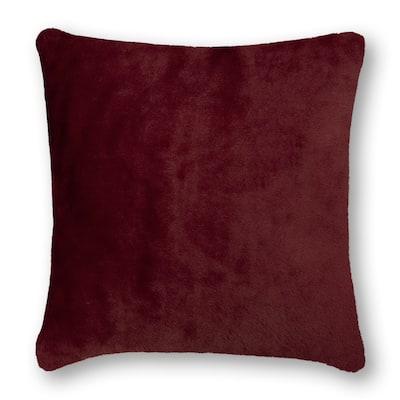 Olivia Quido Cosmopolitan Toile Burgundy Faux Fur 20-inch Pillow