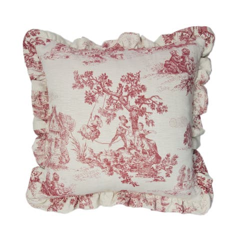 Olivia Quido Cosmopolitan Toile Red 20-inch Main Pillow