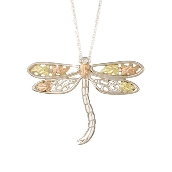 57a888e7d62 Shop Black Hills Gold and Silver Dragonfly Necklace - On Sale - Free  Shipping Today - Overstock - 3096772