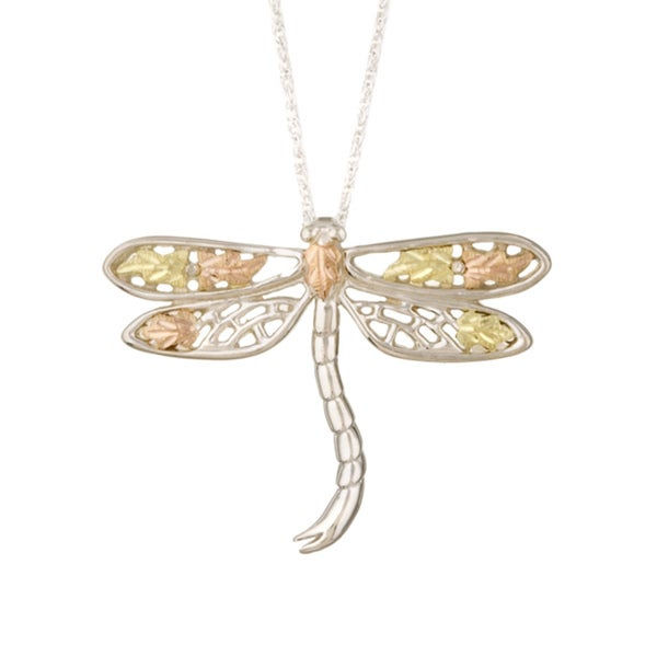 Black Hills Gold and Silver Dragonfly Necklace
