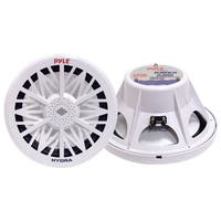 Pyle PLMRW12 Single Outdoor Marine Audio Subwoofer - 600 Watt 12 Inch White Waterproof Bass Loud Speaker Marine Stereo Sound
