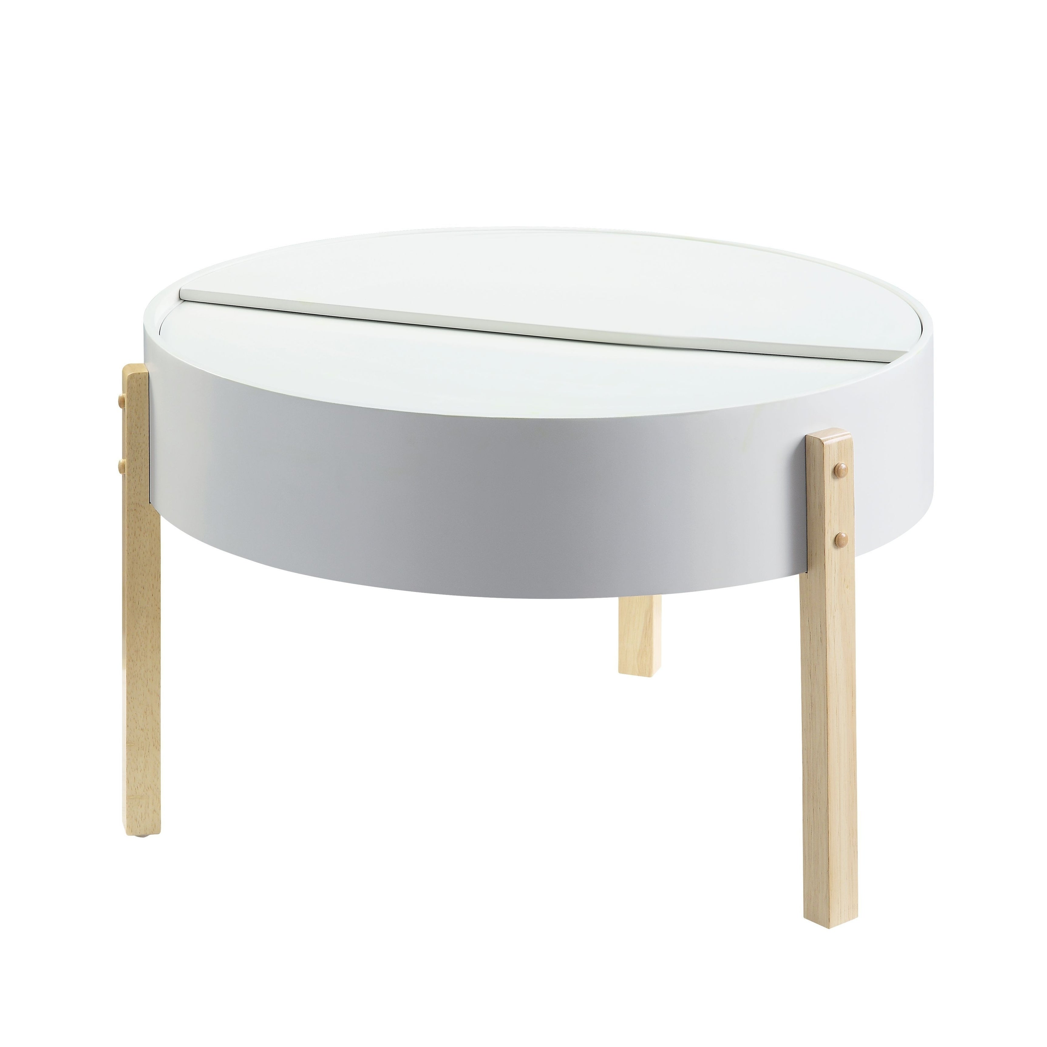 Round Wooden Coffee Table With Hidden Storage White And Brown On Sale Overstock 30968298