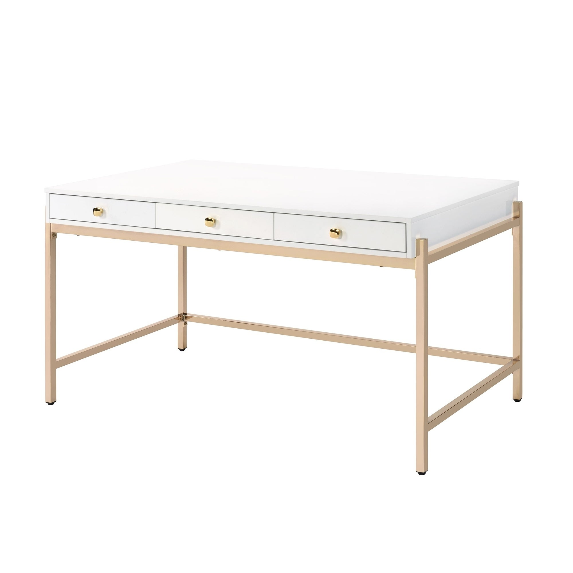 Wooden Desk With 3 Drawers And Metal Frame Glossy White And Rose Gold Overstock 30968305