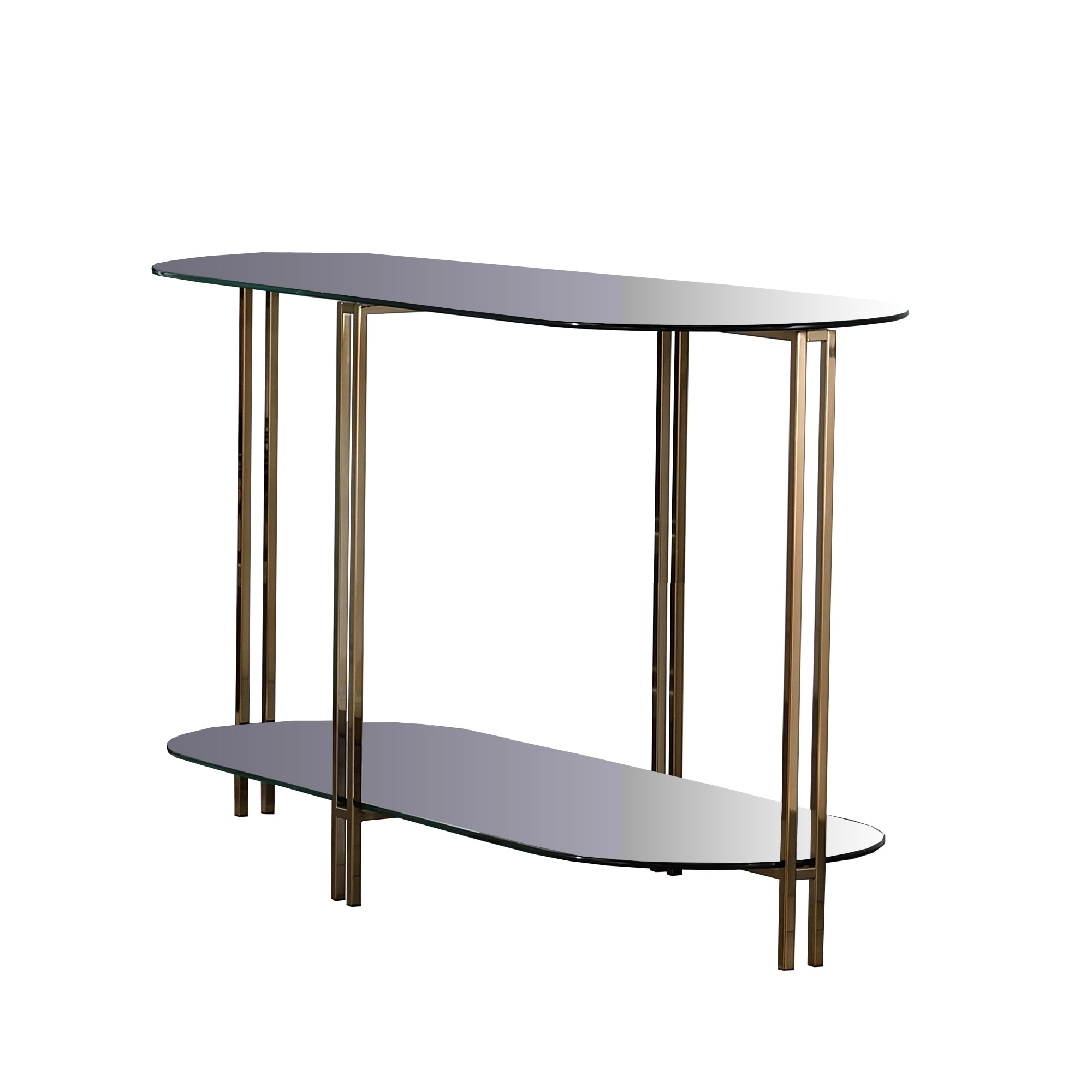 Sofa Table With Glass Top And Open Bottom Glass Shelf Gold On Sale Overstock 30968316