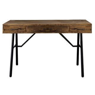 Link to Wooden Desk with 3 Drawers and Angled Tubular Legs, Black and Brown Similar Items in Computer Desks