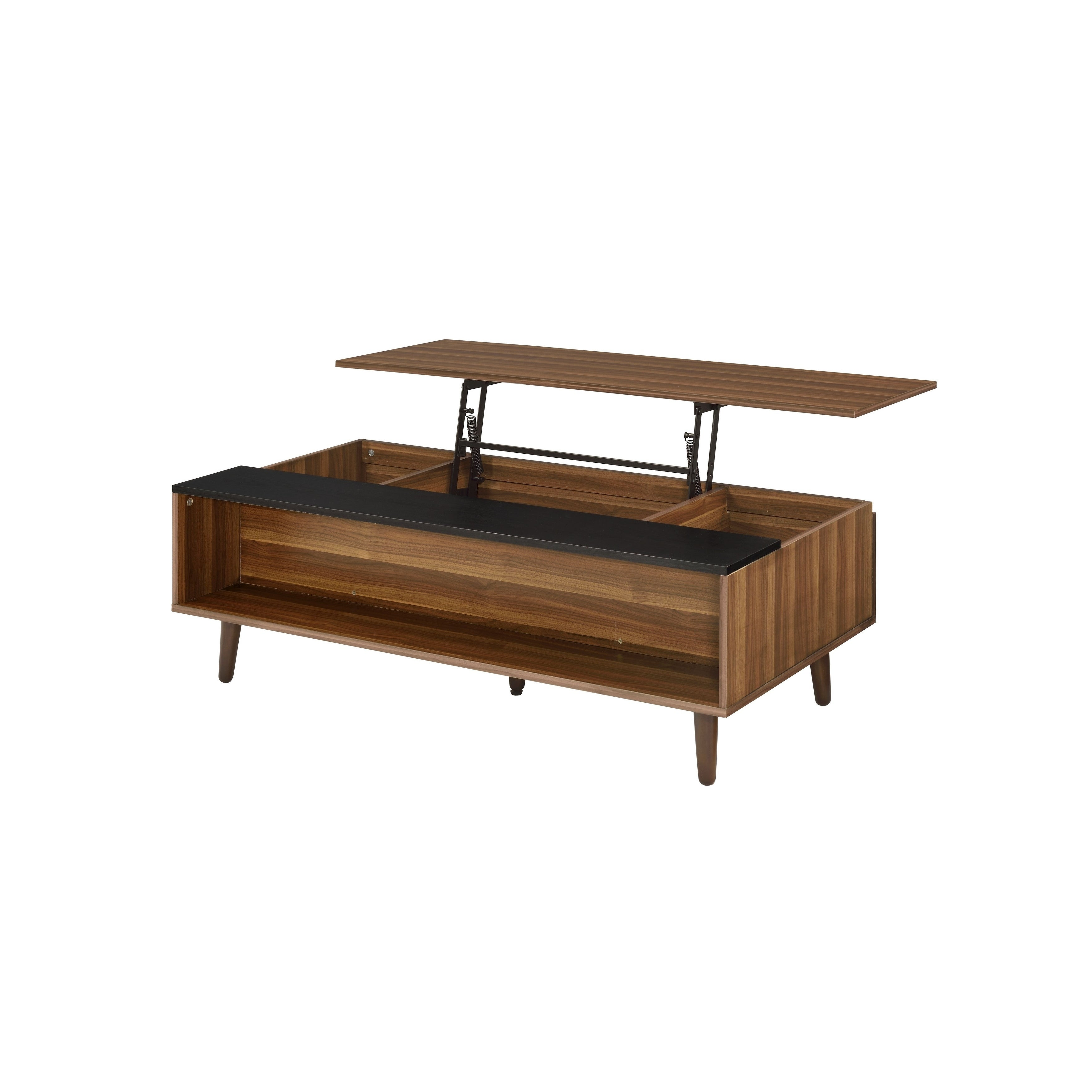 Wooden Coffee Table With Lift Top Storage And 1 Open Shelf Walnut Brown Overstock 30968323