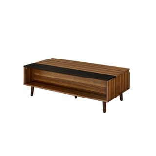 Wooden Coffee Table with Lift Top Storage and 1 Open Shelf, Walnut Brown