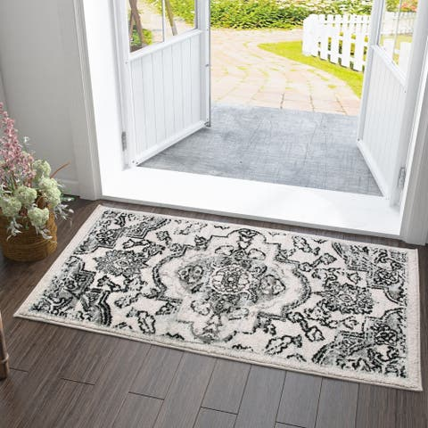 Vitange Courtyard Indoor/ Outdoor Rug White/Black/Grey