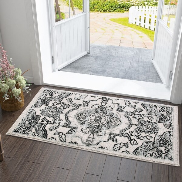 Vitange Courtyard Indoor/ Outdoor Rug White/Black/Grey. Opens flyout.