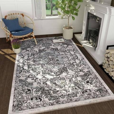 Vitange Courtyard Indoor/ Outdoor Rug White/Black/Grey