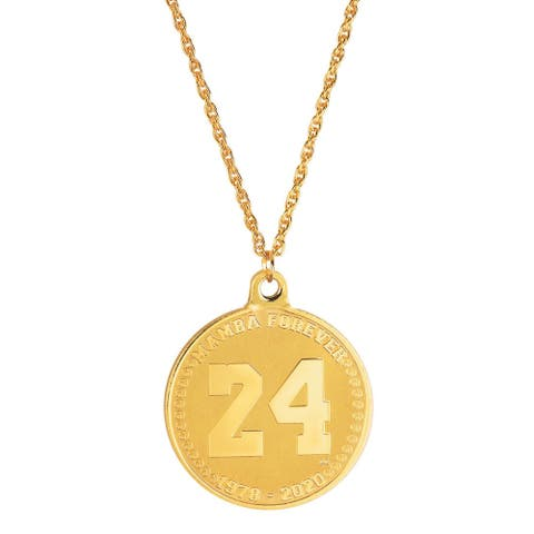 24KT Gold Plated Number 24 Medallion Pendant with Men's Chain