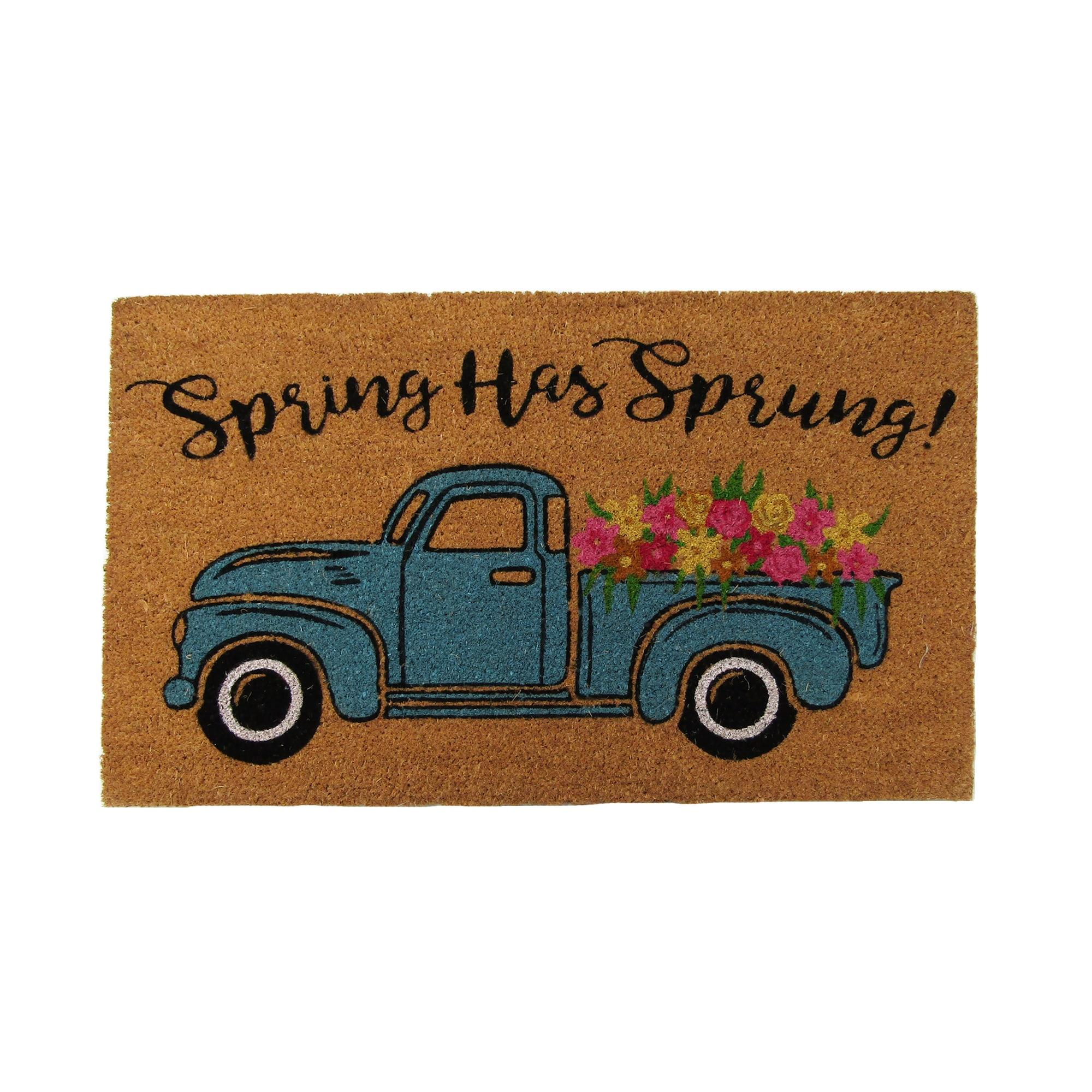 Farmhouse Living Spring Has Sprung Farm Truck Coir Doormat Overstock 30969051