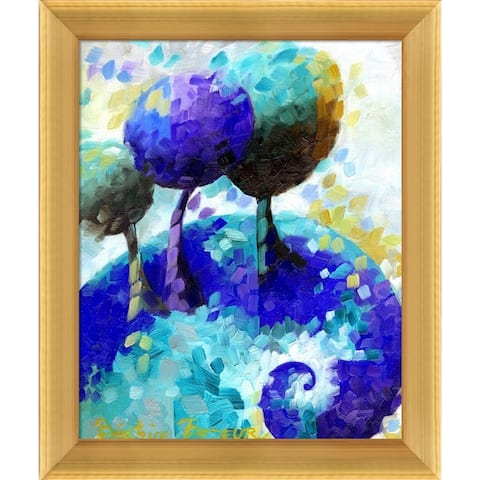 """ArtistBe Blue Spiral with Piccino Luminoso Frame Canvas Wall Art, 12.5"""" x 10.5"""""""