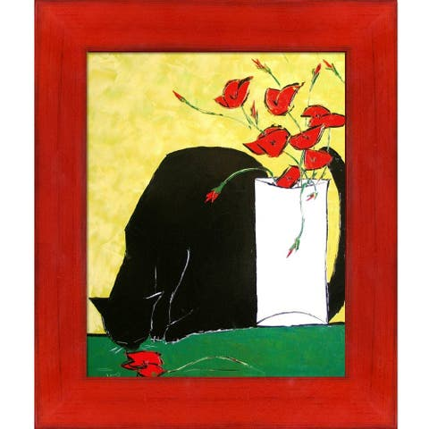 """ArtistBe Black Cat and His Poppies with Stiletto Red Frame Canvas Wall Art, 13.5"""" x 11.5"""""""