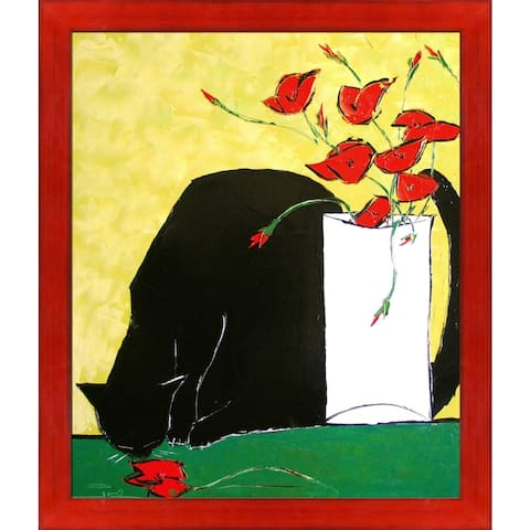 """ArtistBe Black Cat and His Poppies with Stiletto Red Frame Canvas Wall Art, 27.5"""" x 23.5"""""""