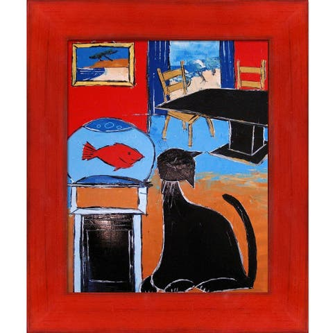 """ArtistBe Black Cat with Goldfish with Stiletto Red Frame Canvas Wall Art, 13.5"""" x 11.5"""""""