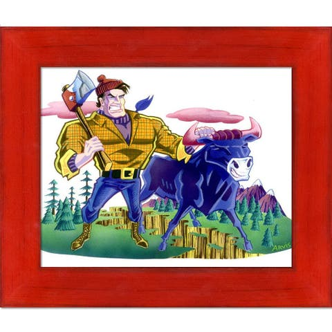 """ArtistBe Paul and Babe with Stiletto Red Frame Canvas Wall Art, 11.5"""" x 13.5"""""""