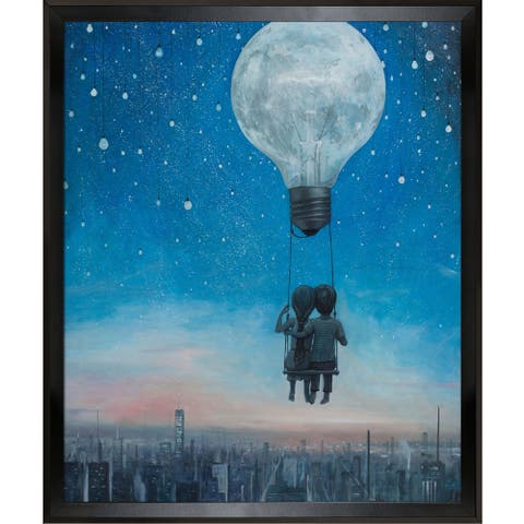 """ArtistBe He Gave Me The Brightest Star with Studio Black Wood Angle Frame Canvas Wall Art, 26.5"""" x 22.5"""""""