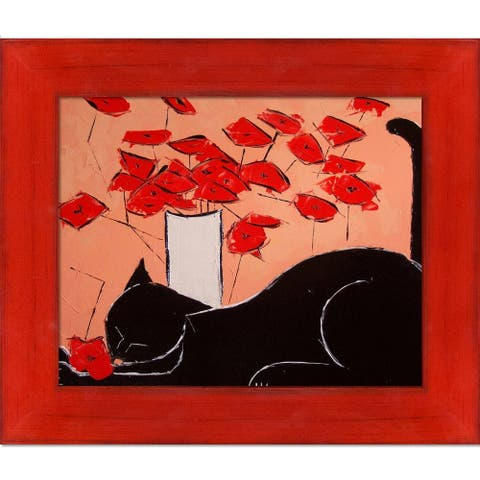 """ArtistBe Black cat with poppies with Stiletto Red Frame Canvas Wall Art, 11.5"""" x 13.5"""""""
