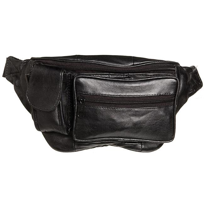 Kozmic Front Zippered Black Leather Fanny Pack