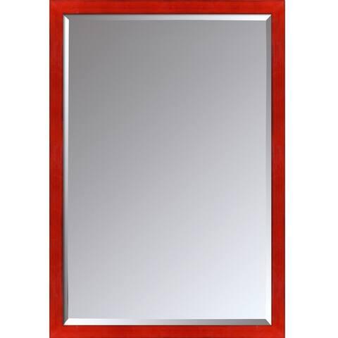 "La Pastiche by overstockArt Stiletto Red Framed Mirror, 39.5"" x 27.5"" - 39.5x27.5"