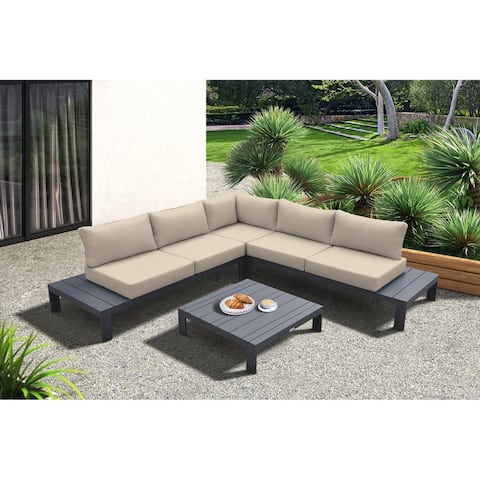 Razor Outdoor 4 piece Sectional set in Dark Grey Finish and Grey Cushions