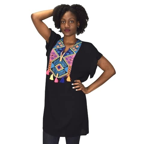 Embroidered Tasseled V Neck Summer Beach Cover Up Crepe Tunic Tops - One Size