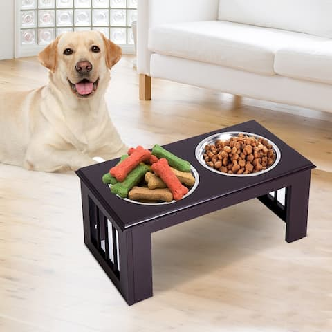 PawHut Double Bowl Wooden Stand Pet Feeder Elevated Base Cat Puppy Twin Bowls