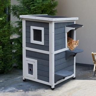 PawHut Solid Wood 2-Floor Cat Condo Kitten Shelter with Window