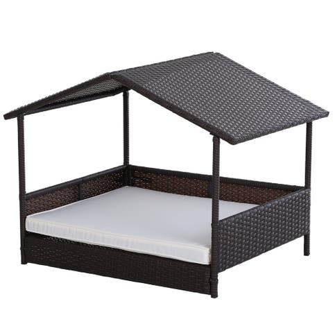 PawHut Elevated & Cushioned PE Rattan Dog / Cat House for Pets with Comfortable Sleeping Pad & Weather-Fighting Material
