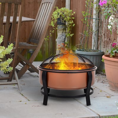 Outsunny Copper-Colored Round Basin Wood Fire Pit Bowl with Organic Black Base, a Wood Poker, & Mesh Screen for Embers