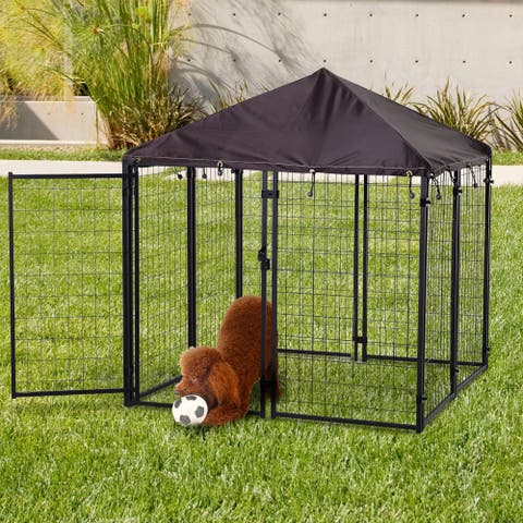 PawHut Lockable Dog House Kennel with Water-resistant Roof for Small and Medium Small Sized Pets