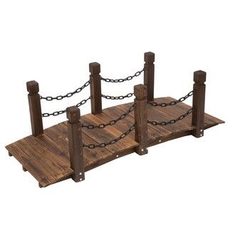 Link to Outsunny 5ft Wooden Garden Bridge Arc Stained Finish Walkway with Chain Railings, Stained Wood Similar Items in Outdoor Decor