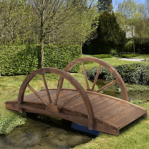 Outsunny 3.3ft Wooden Garden Bridge Arc Stained Finish Walkway with Half Wheeled Railings, Stained Wood