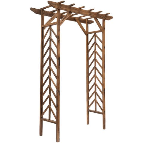 Outsunny Fir Wood Garden/Backyard Arbor Trellis with Pergola Style Roof, Perfect for Vines & Other Plants