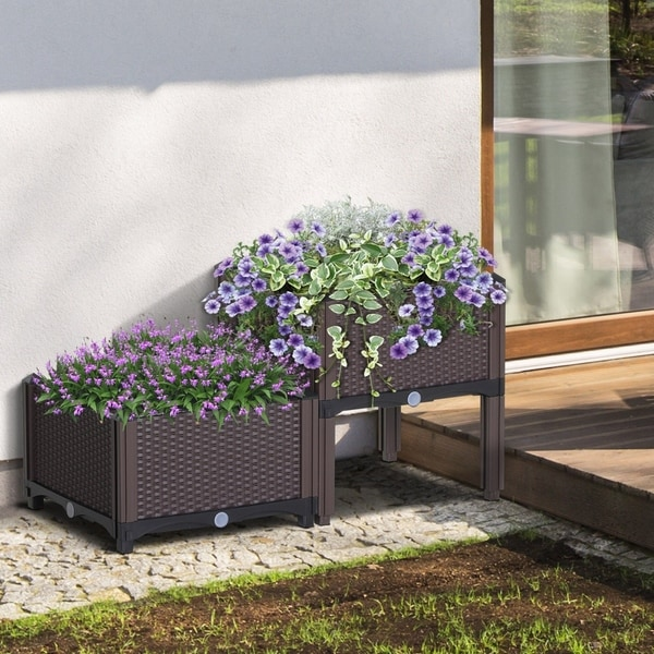 Outsunny 2-Piece Rattan Flower Planter Box Set with 2 Different Heights, Compact Footprint, and Self-Watering Design