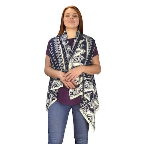Women's Sleeveless Fair Isle Reversible Draped Open Front Cardigan - One Size