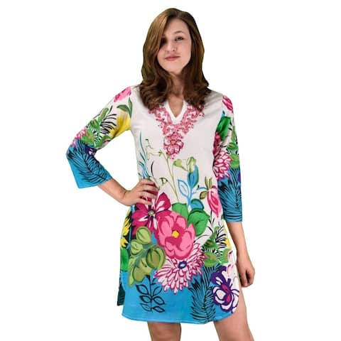 Summer Women Boho Cotton Floral Embroidered Cover-up Beachwear Tunic - XL