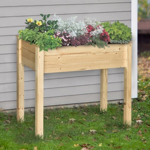 Outsunny Raised Wooden Garden Bed Planter Stand with Inner Bag, Perfect for Limited Garden Space to Grow Herbs & Flowers