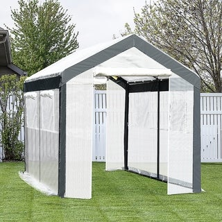 Link to Outsunny Walk-in Garden Greenhouse Fully Enclosed with Extra Thick Steel Tubing, 4 Windows, & 2 Zippered Doors Similar Items in Gardening